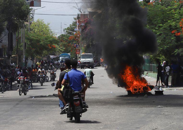 De moord op president Moïse leidde tot onrust in de Haïtiaanse hoofdstad Port-au-Prince. Beeld Reuters