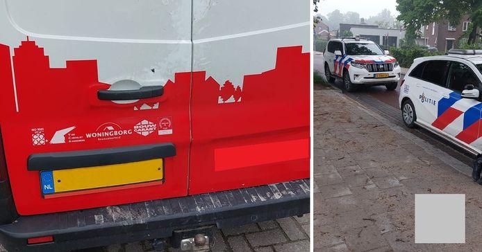 De politie bij één van de leeggeroofde bedrijfsbussen in Lichtenvoorde. Boven het handvat van de bus is het gaatje te zien, waardoor de dader(s) de bus heeft kunnen openen.