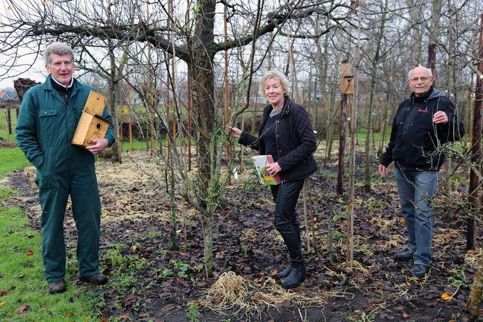 Jos Dilven (l.), Maaike Riemslag en Louis Tenret tussen de fruitbomen, die via de plantgoedactie verkocht zijn. Dit jaar overtrfo voorgaande in snelle verkoop.