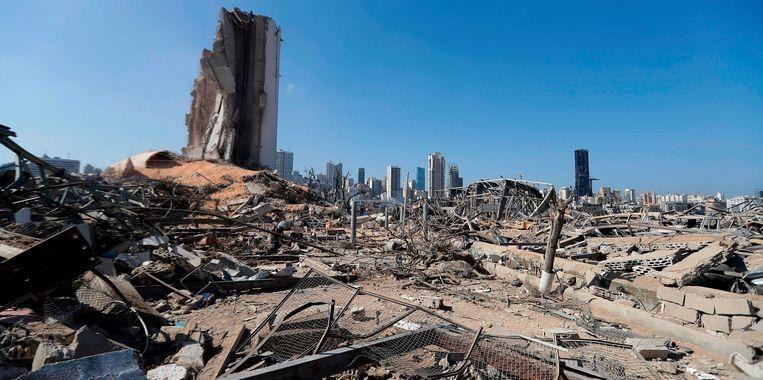 De haven van Beiroet ligt in puin na de explosie die op dinsdag 4 augustus plaatsvond. Beeld AFP