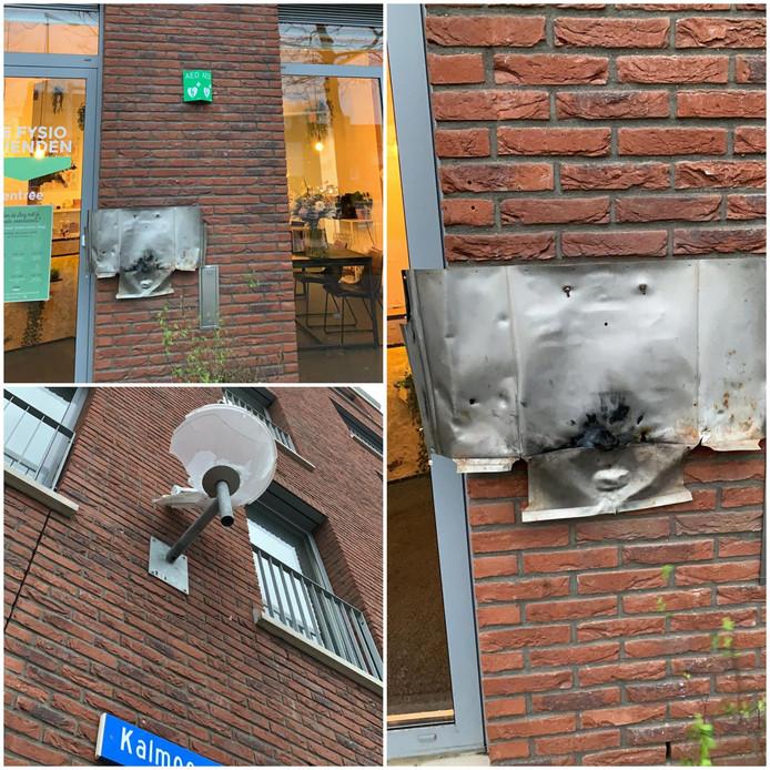 Een brievenbus op het Kalmoesplein in Eindhoven is volledig verwoest met vuurwerk.
