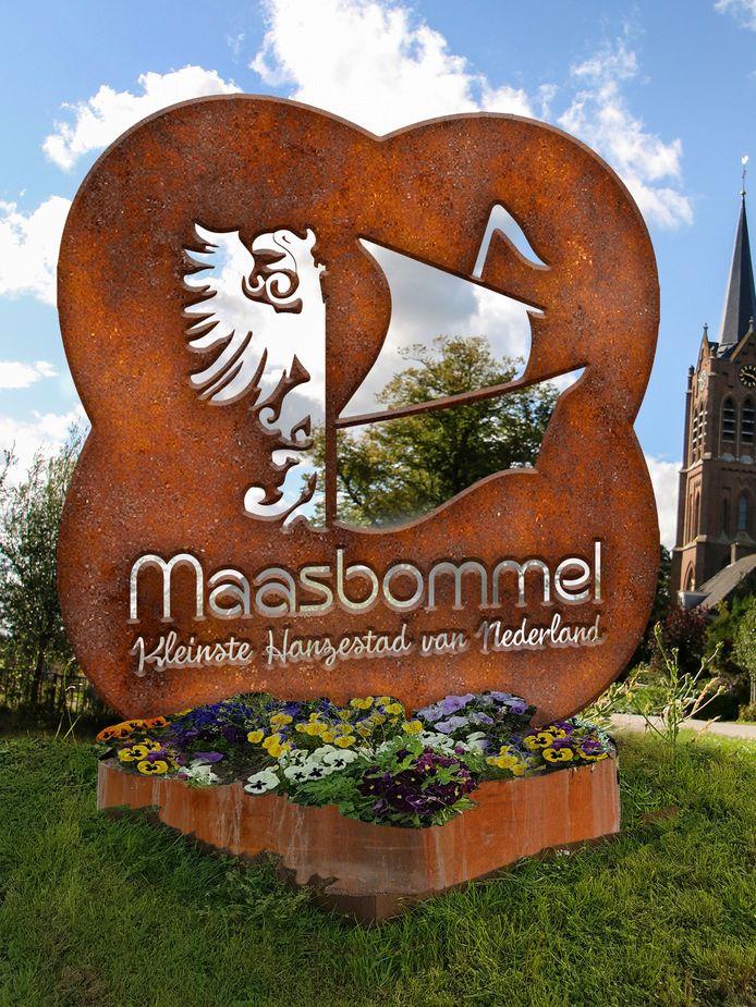 Het ontwerp van Hein van Houten voor het entreebord voor Maasbommel.