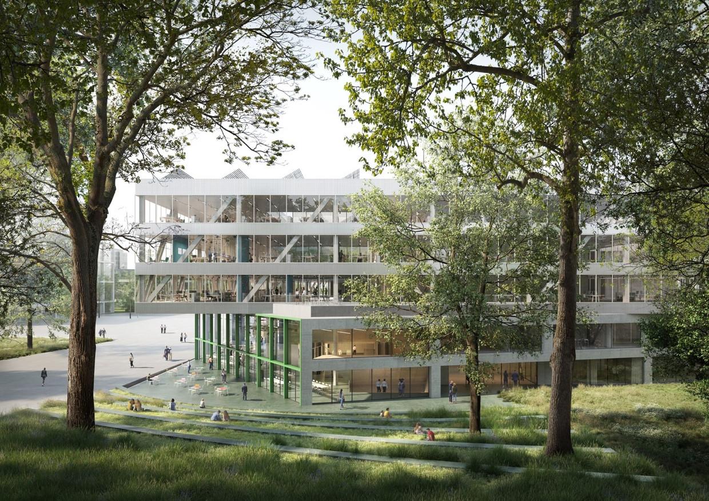 Het nieuwe gebouw van de VRT.  Beeld VRT