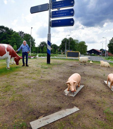 Wie heeft varken en lammetje weg gehaald op rotonde Schijf?