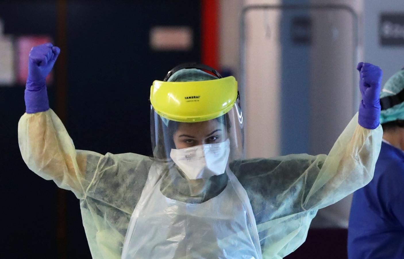 Une soignante à l'hôpital Erasme à Bruxelles.