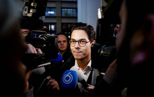 Fractievoorzitter Rob Jetten (D66) voor aanvang van het coalitieoverleg vanmorgen