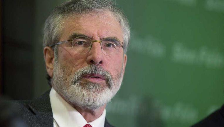 Gerry Adams hield gisteren een persconferentie na zijn vrijlating.