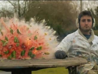 Explosie watermeloen in slow motion