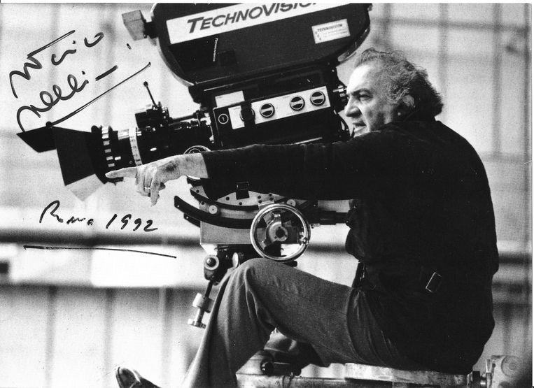 Federico Fellini (in de docu 'Sur les traces de Fellini' (2013) van Gerald Morin.  Beeld AVRO