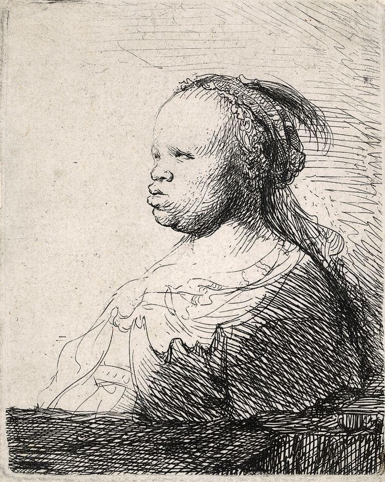 Rembrandt, Buste van een vrouw. Beeld