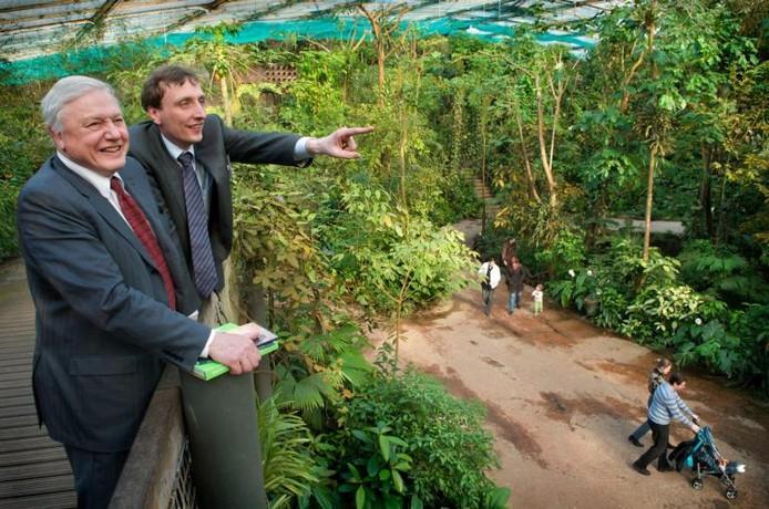 Sir David Attenborough in Burgers' Bush samen met dierentuindirecteur Alex van Hooff. foto Marc Pluim