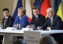Le président ukrainien Volodymyr Zelensky, la chancelière allemande Angela Merkel, le président français Emmanuel Macron et le président russe Vladimir Poutine (archives)