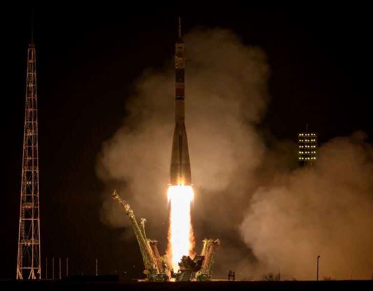 Een eedere lancering van de Sojoez MS-12 in Bajkonoer (maart 2019). Beeld Photo News