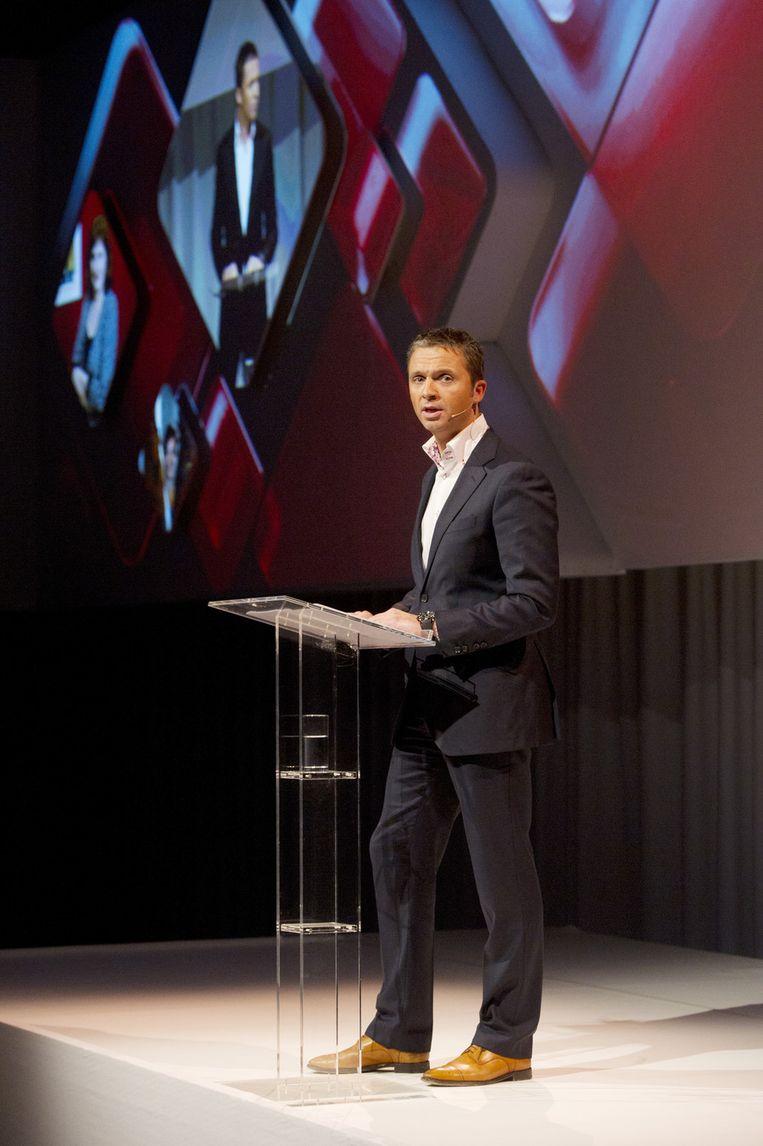 Gerard Timmer, directeur televisie van de publieke omroep, vorig jaar tijdens de presentatie van het seizoen 2011/2012 van de Nederlandse Publieke Omroep (NPO) in Hilversum. Beeld ANP