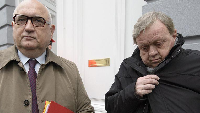 Rudy De Leeuw en Marc Goblet van het ABVV. Beeld photo_news