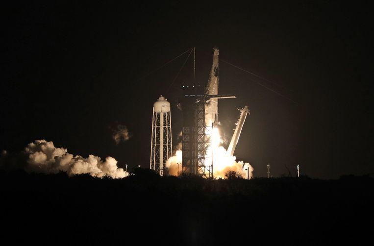 De lancering van Crew-1. Beeld AFP