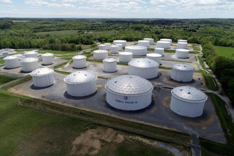 Een opslagplaats van Colonial Pipeline in Woodbine, Maryland in de VS.  Beeld REUTERS