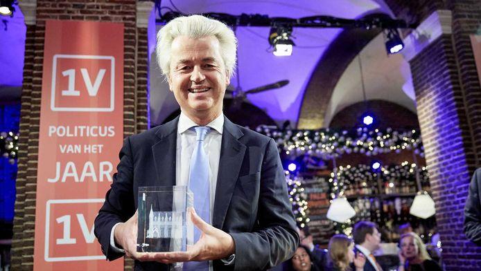 Winnaar Geert Wilders na afloop van de EenVandaag Politicus van het Jaar-verkiezing.