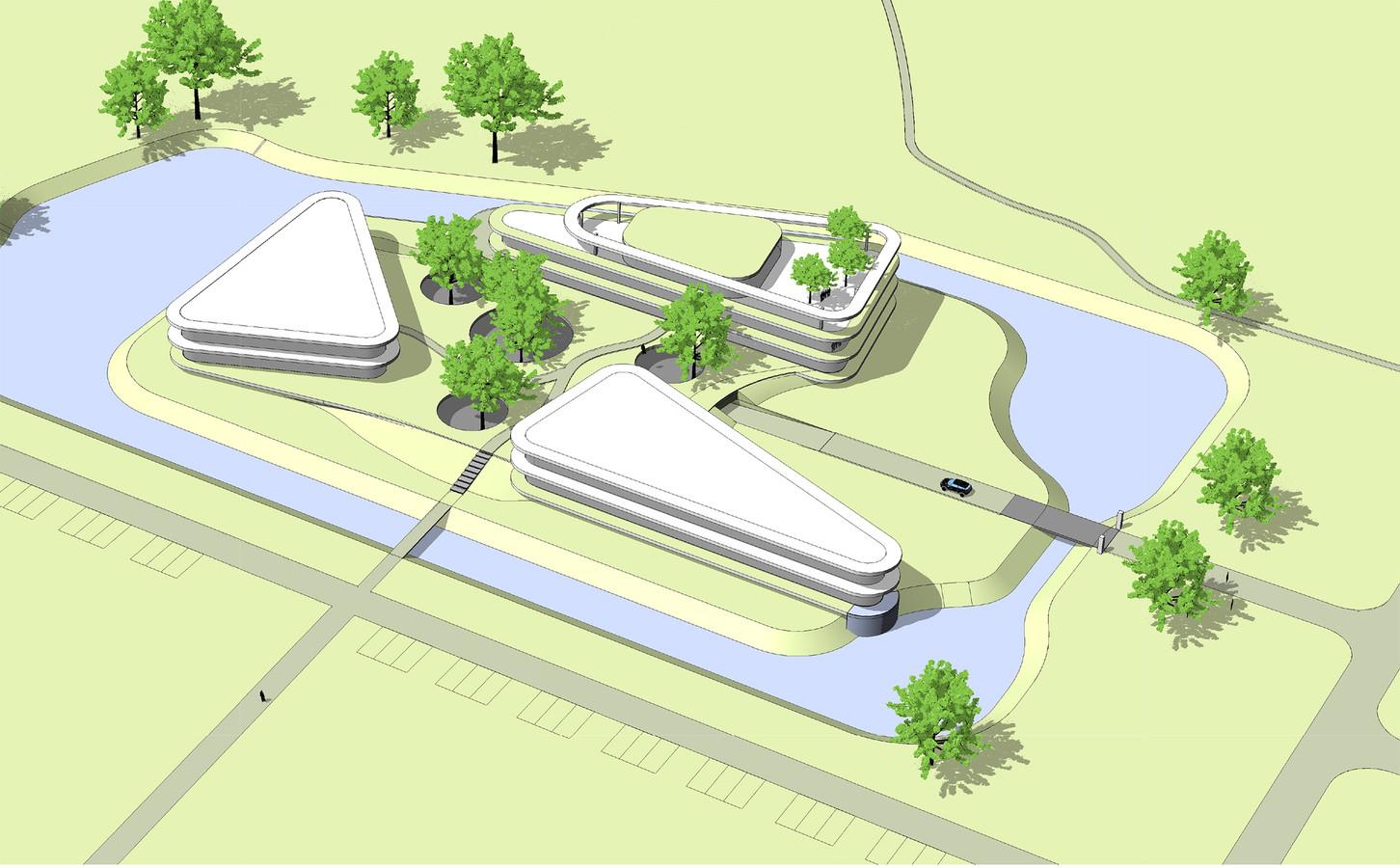 Een artist impression van de campus voor medisch onderzoek en ontwikkeling, die de Kelders Senior Group op Landgoed Steenenburg in Drunen wil gaan bouwen. Later wil Kelders er nog een diagnostisch centrum bij bouwen.