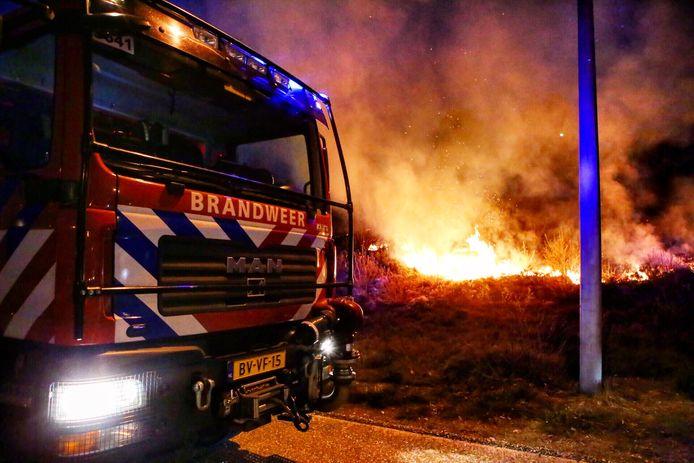 De bermbrand langs de A50.