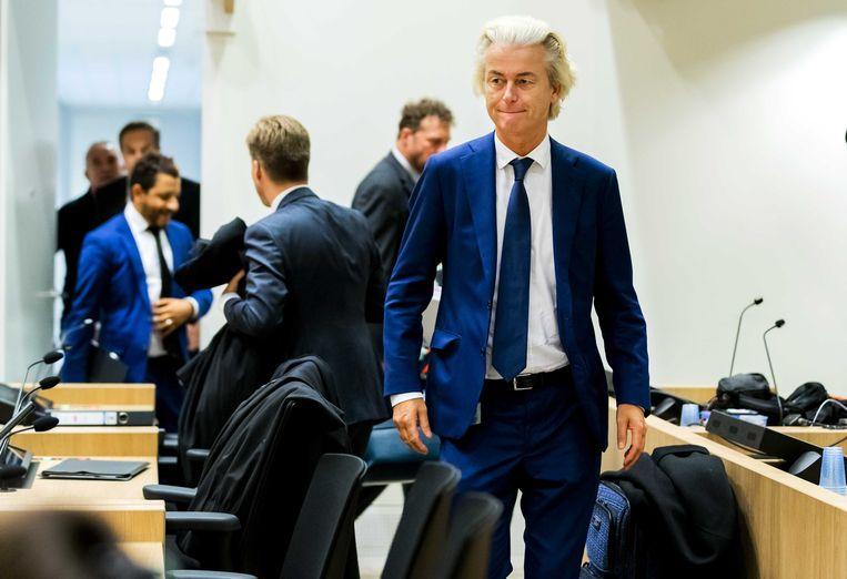 PVV-leider Geert Wilders in de rechtbank van Schiphol voor het pleidooi in het minder-Marokkanen-proces tegen Wilders.  Beeld ANP