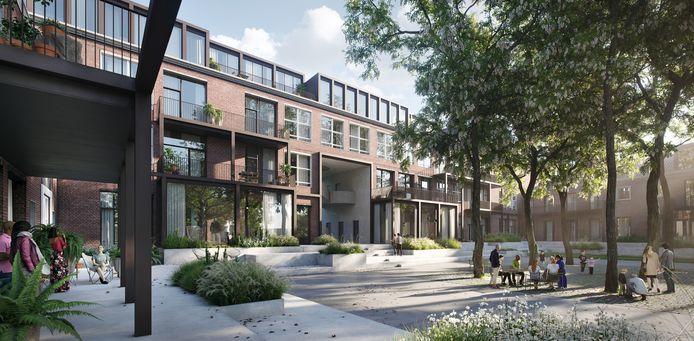Zo moet de school er straks uit komen te zien, met een doorsteek van het park naar de Drienerstraat.