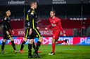 Frederik Helstrup viert zijn treffers namens Almere City.