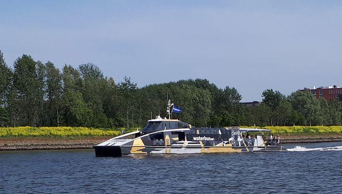 Waterbus op drierivierenpunt bij Slobbengors Papendrecht Noord Merwede.