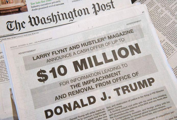 Liefst 10 miljoen dollar (8,2 miljoen euro) wilde Flynt betalen voor belastende informatie die zou leiden tot het afzetten van president Donald Trump.