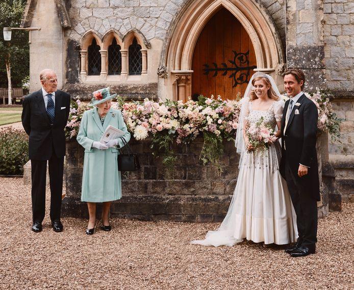 Een foto van tijdens het huwelijk.