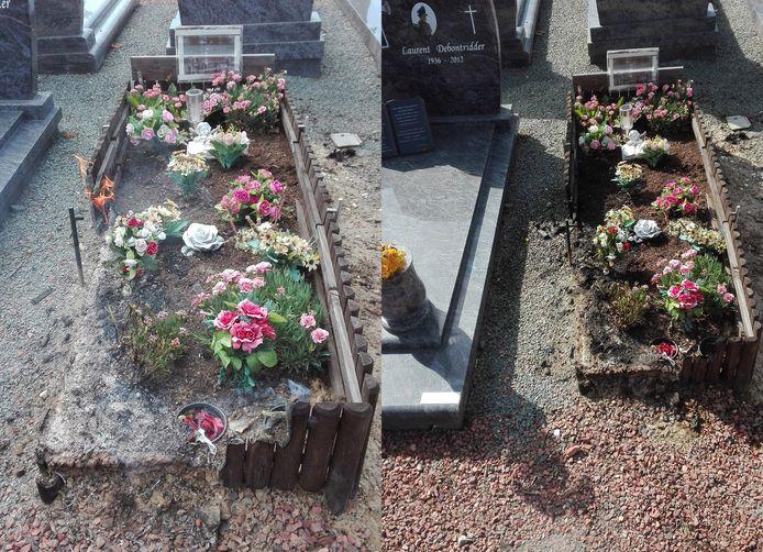 Het graf op de begraafplaats van Lembeek liep aanzienlijke schade op.