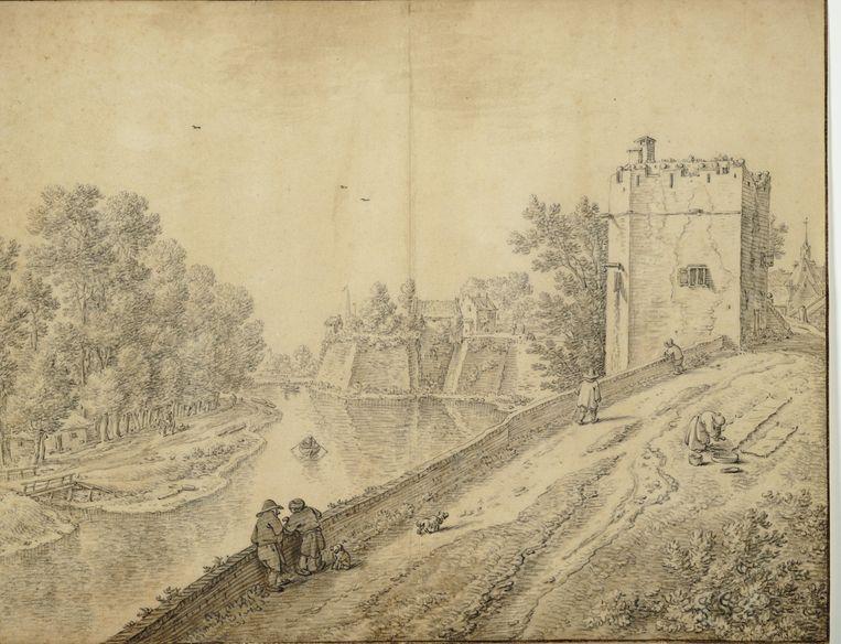 Herman Saftleven: Servaashek met op de achtergrond bastion Manenburg, jaartal onbekend (Het Utrechts Archief).  Beeld