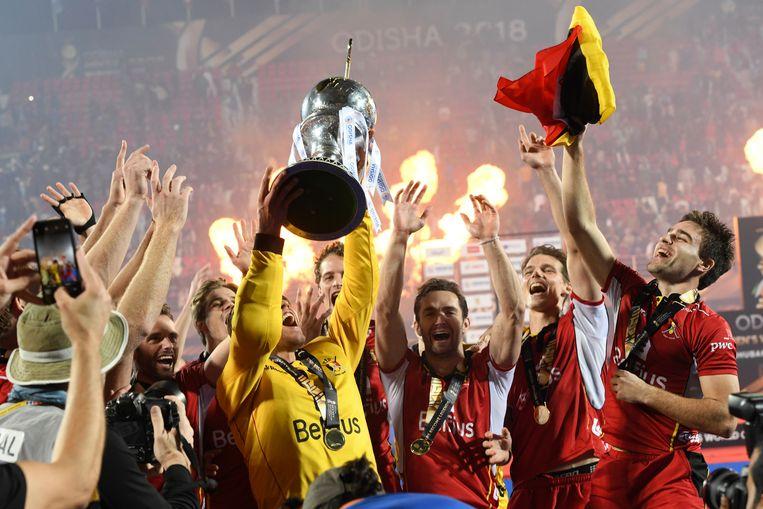 De Red Lions werden zondag wereldkampioen.  Beeld Photo News