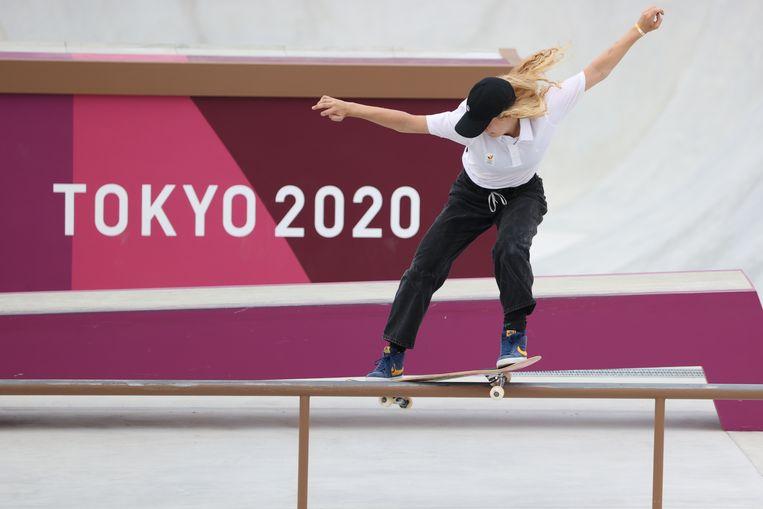 Skateboardster Lore Bruggeman in Tokio. Beeld BELGA