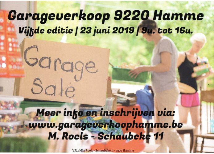 De garageverkoop gaat door op 23 juni.
