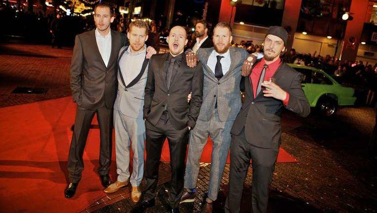 De cast van New Kids Nitro tijdens de première in Eindhoven. © ANP Beeld