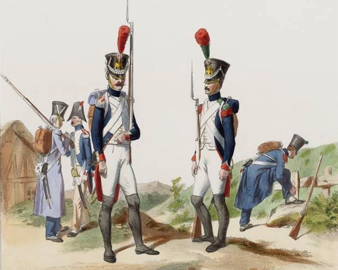 Fuseliers in het Franse leger, tekening van Gustave David.