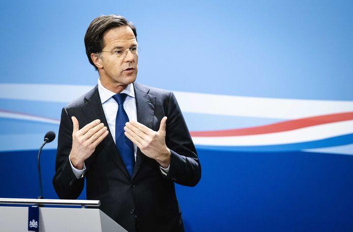 Premier Mark Rutte tijdens een persconferentie na afloop van de ministerraad.