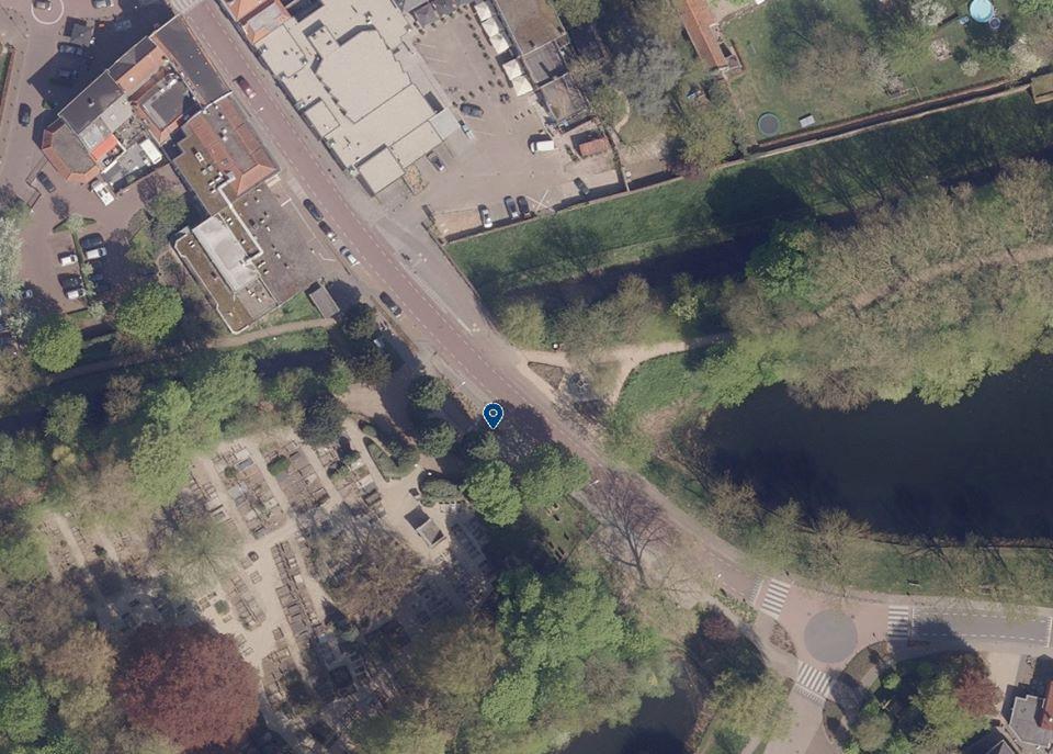 De locatie van het ongeluk in Zaltbommel
