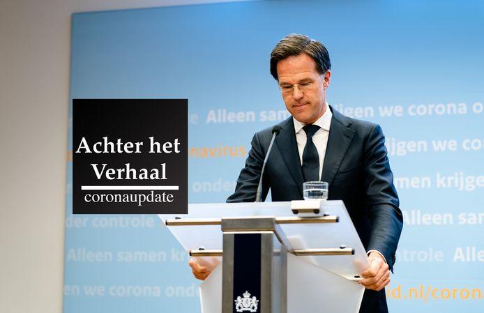 DEN HAAG - Premier Mark Rutte tijdens een persconferentie na afloop van een overleg met de Ministeriële Commissie Crisisbeheersing over de noodmaatregelen vanwege het coronavirus.
