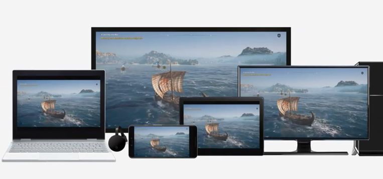 Google's gameplatform Stadia is geschikt voor veel apparaten. Beeld Google