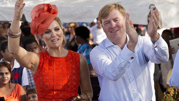Koning Willem-Alexander en koningin Maxima tijdens hun bezoek aan Sint Eustatius. Beeld ANP