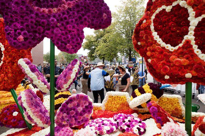 'Alles in bloei dankzij ons' van buurtschap Handen Ineen was dit weekend een van de creaties tijdens het bloemencorso in Valkenswaard.