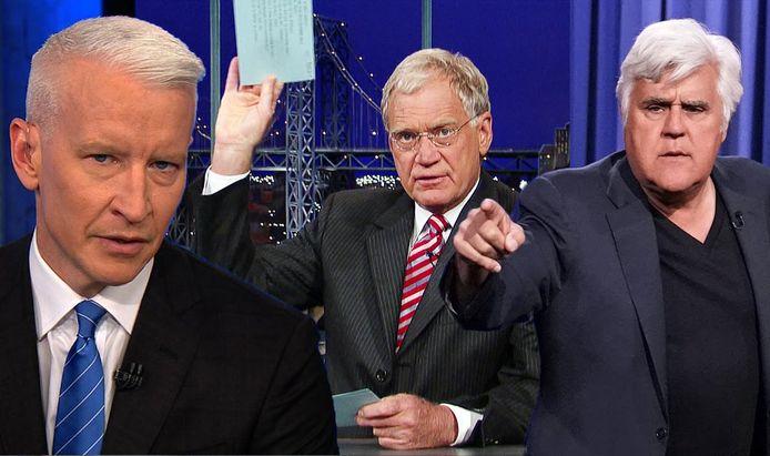 Van links naar rechts: Anderson Cooper, David Letterman, Jay Leno.