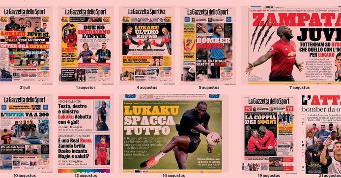 Lukaku meermaals op de cover van de Gazzetta.
