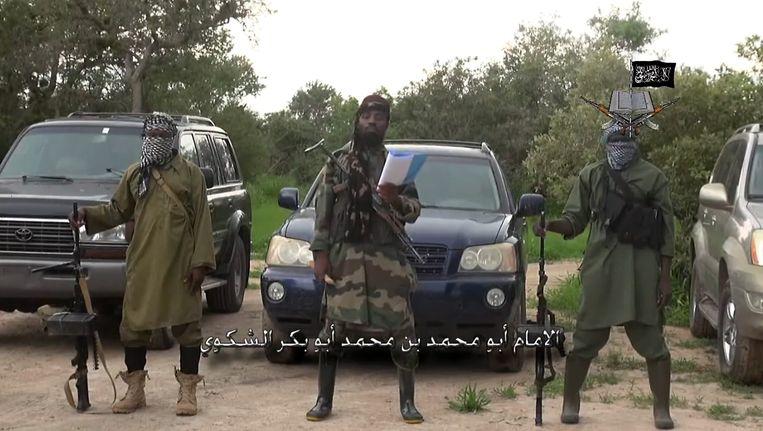 Beeld uit de video die op 24 augustus 2014 werd vrijgegeven. Te zien is leider Abubakar Shekau die een speech opleest. Beeld Screenshot