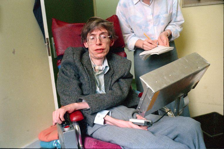 Stephen Hawking in Cambridge in 1989 Beeld Photo News