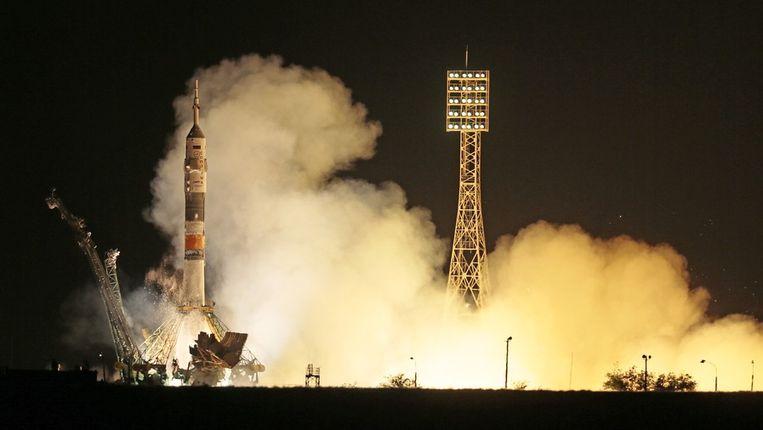 De lancering van de Sojoez TMA-09M. Beeld AP