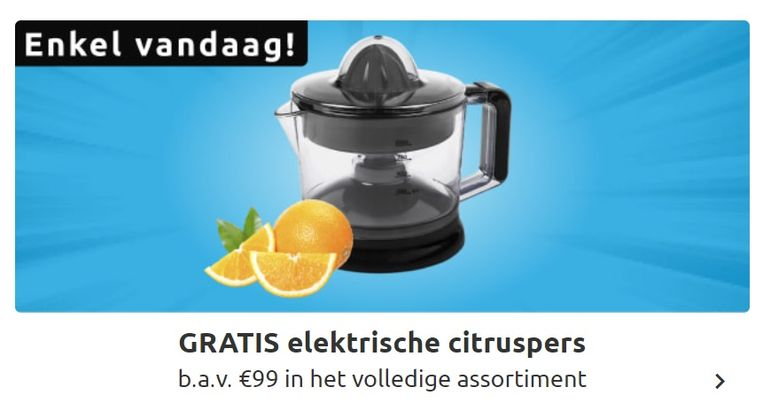 Gratis elektrische citruspers bij Collishop bij aankoop vanaf 99 euro.