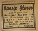 Advertentie voor dansles. Roosje Glaser verfranste haar achternaam soms tot Glacer, omdat dat chiquer klonk.